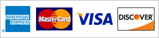 We accept American Express, MasterCard, Visa, and Discover cards